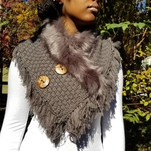 Grey Fur Knitted Neck Warmer w/Brown Wood Buttons